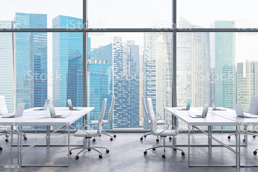 office, Singapore city view from the windows. stock photo