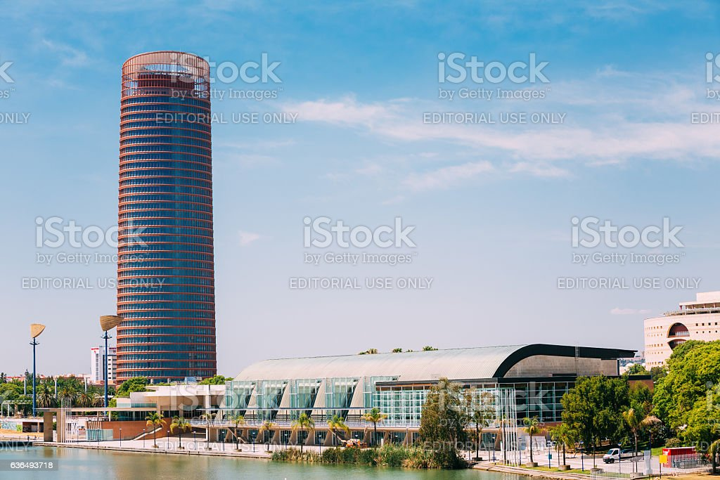 Office skyscraper is highest building in Seville, Spain stock photo