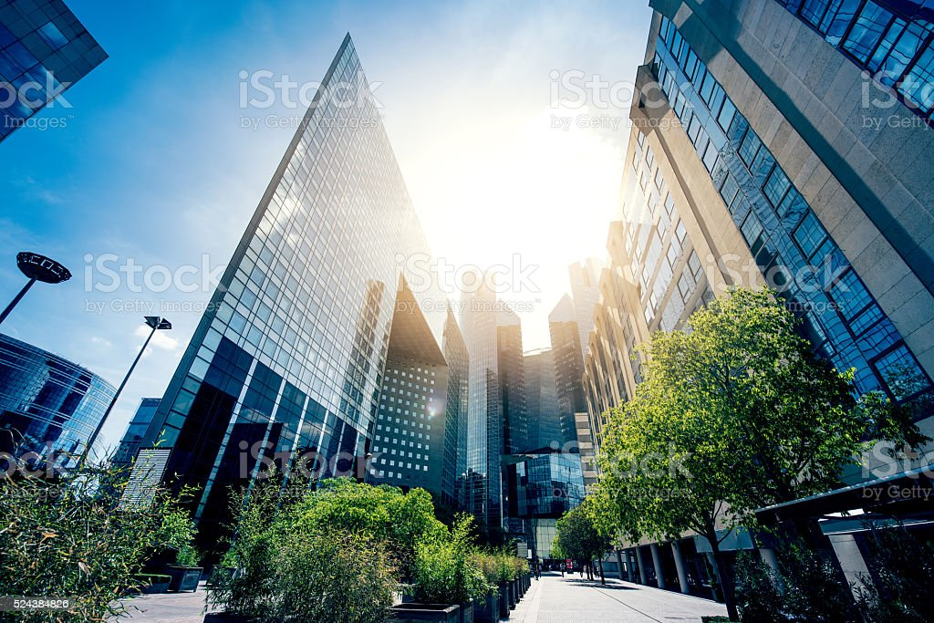Office skysraper in the sun stock photo