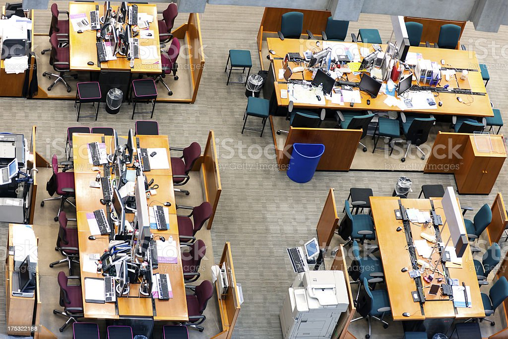 Office Space With Wooden Tables and Computers royalty-free stock photo