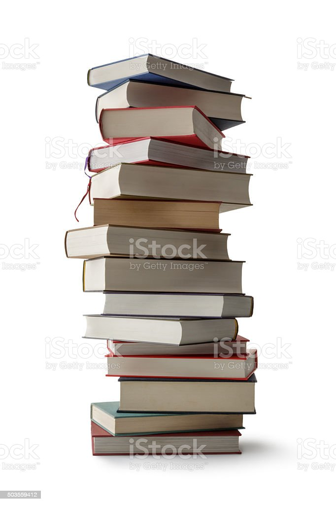 Office: Stack of Books Isolated on White Background stock photo