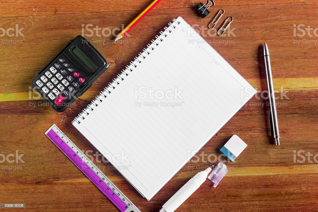 Office stationery on the table with copy space for texts stock photo