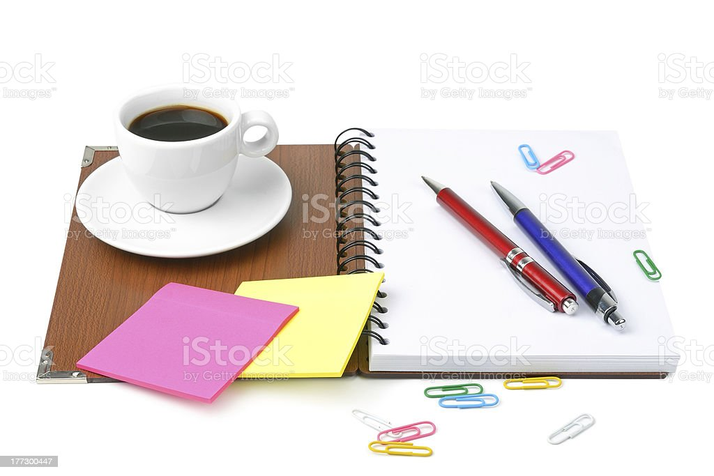 office supplies and coffee cup royalty-free stock photo