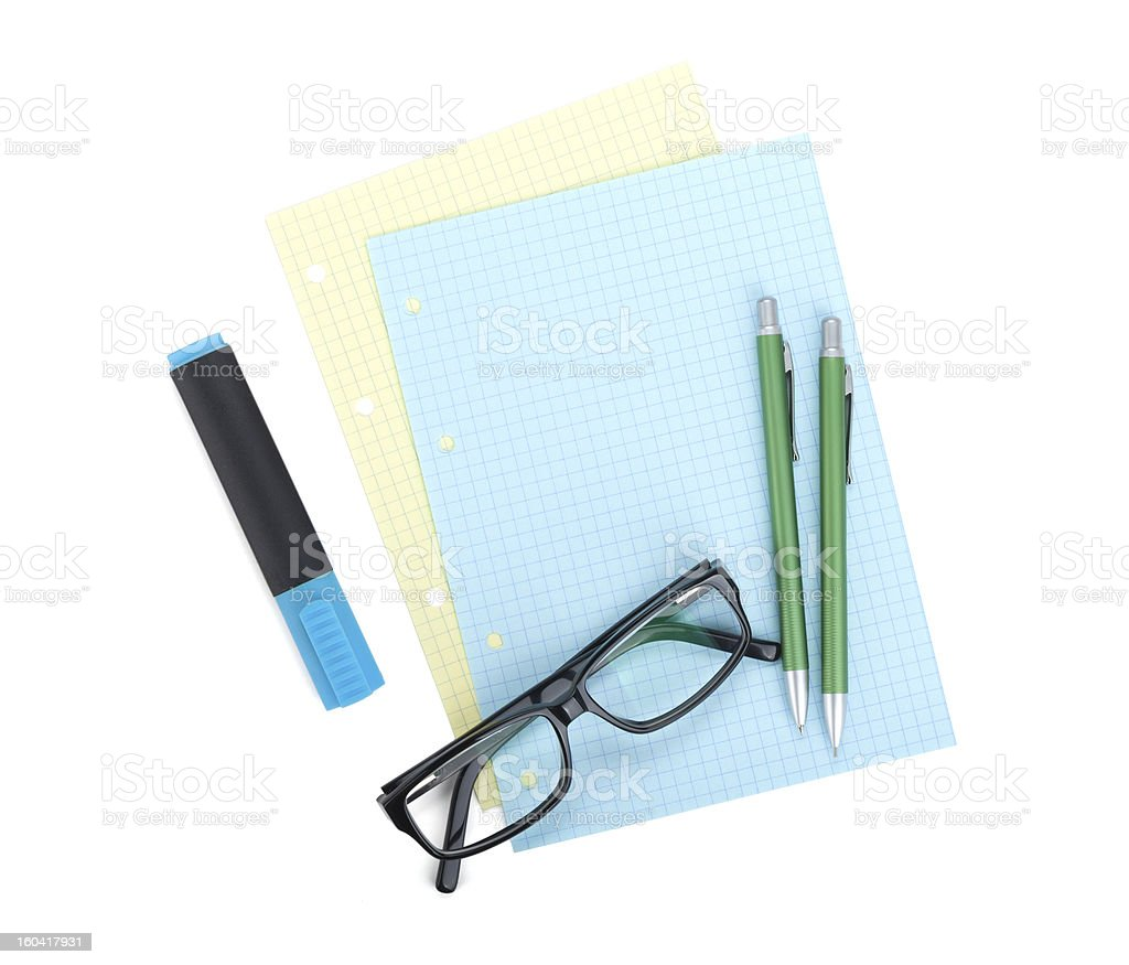 Office supplies and glasses royalty-free stock photo