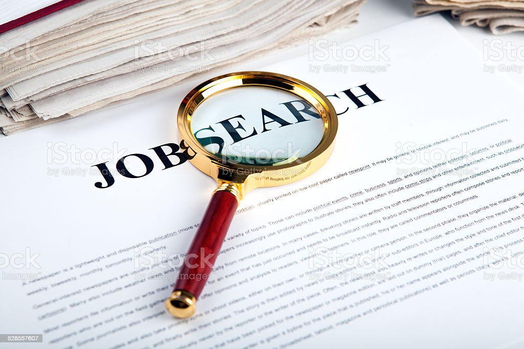 office supplies and job search stock photo
