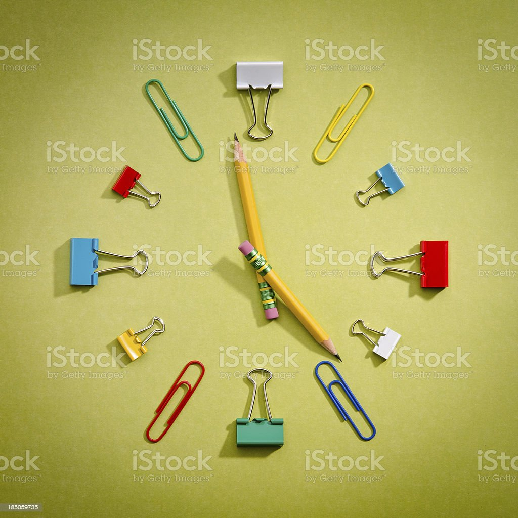 Office Supplies Clock royalty-free stock photo