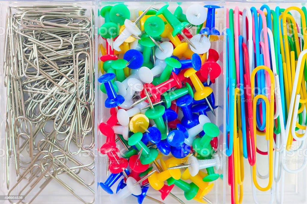 office supplies in a box stock photo