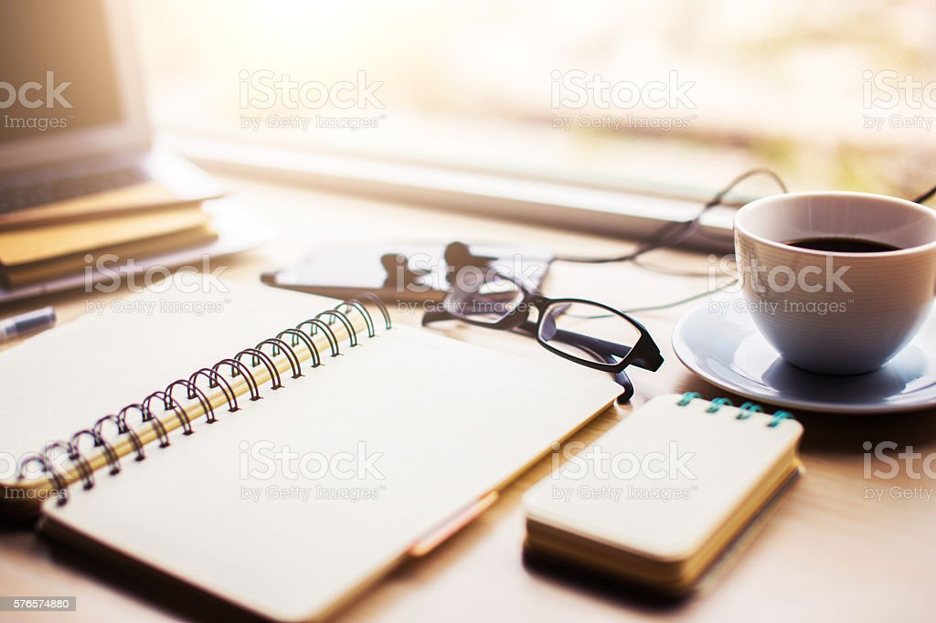 office supplies on table stock photo