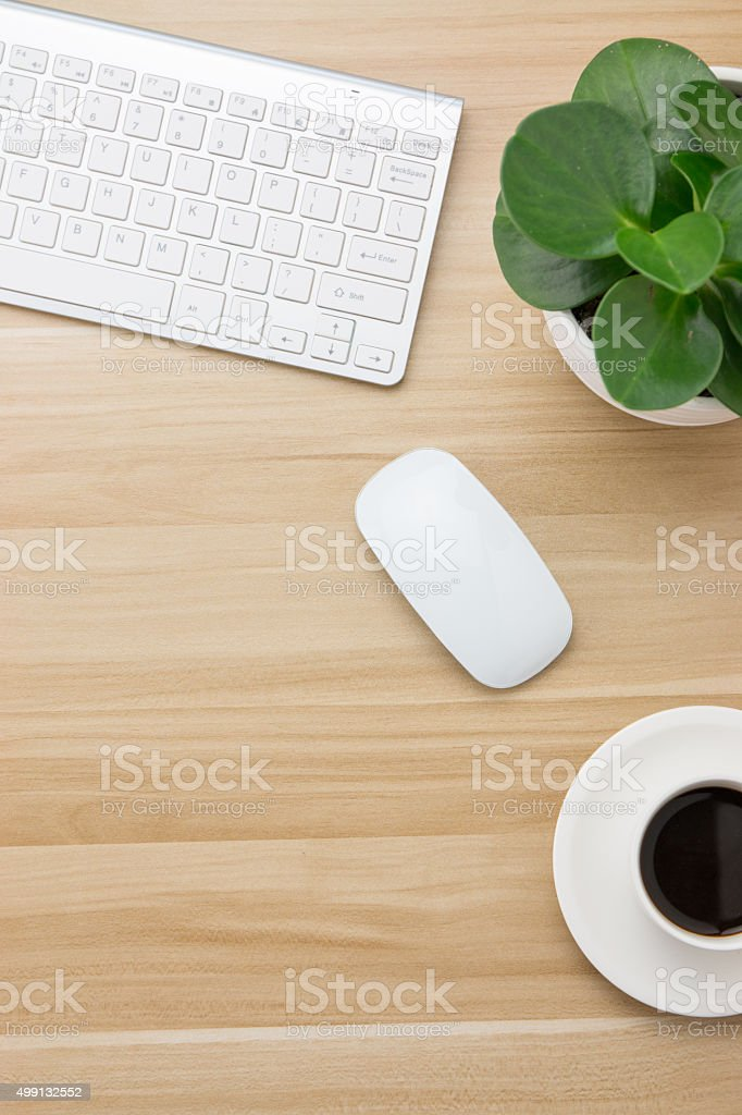 Office supplies on the wooden desk stock photo