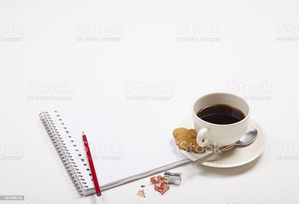 Office Supplies With Coffee Cup And Cookie royalty-free stock photo