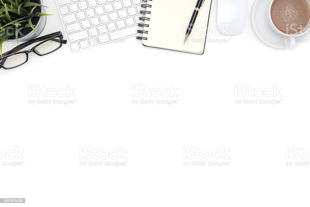 Office supplies with computer on white desk stock photo