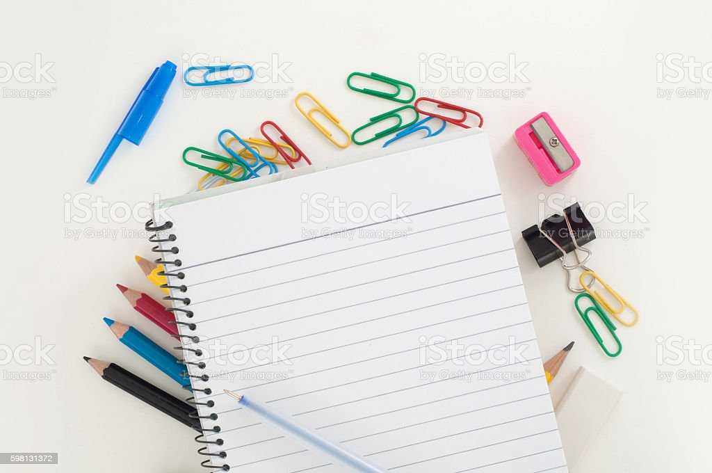 Office supplies with diary and pen stock photo