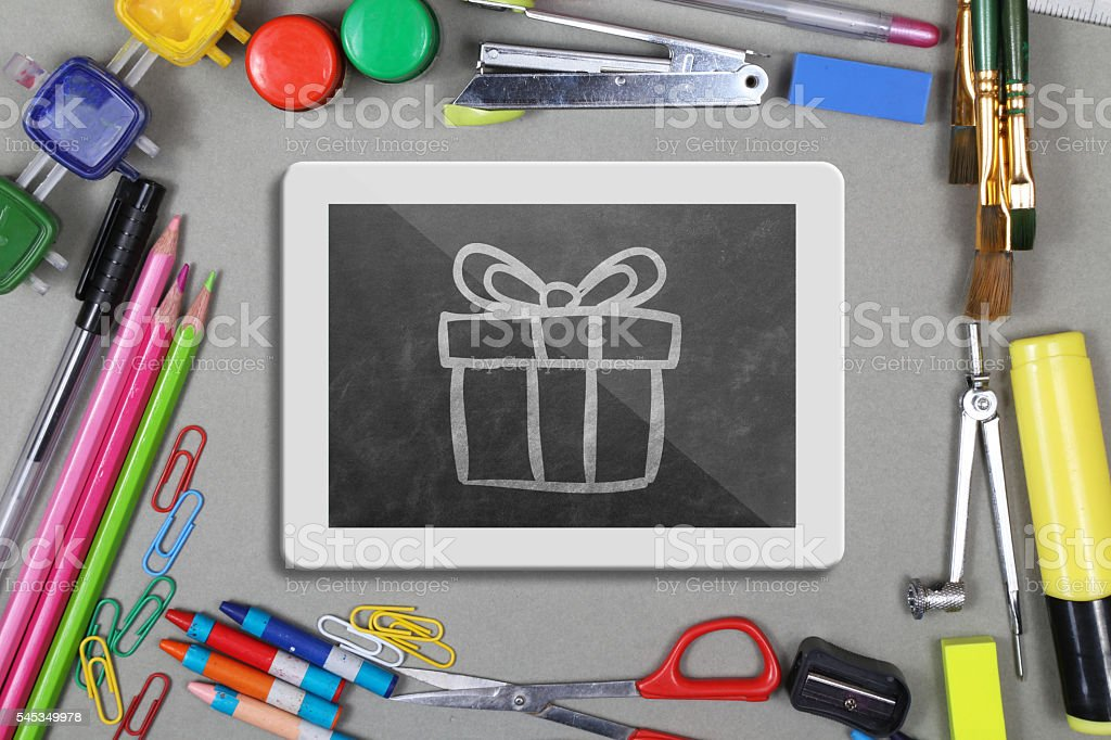 Office supplies with digital tablet on desk stock photo