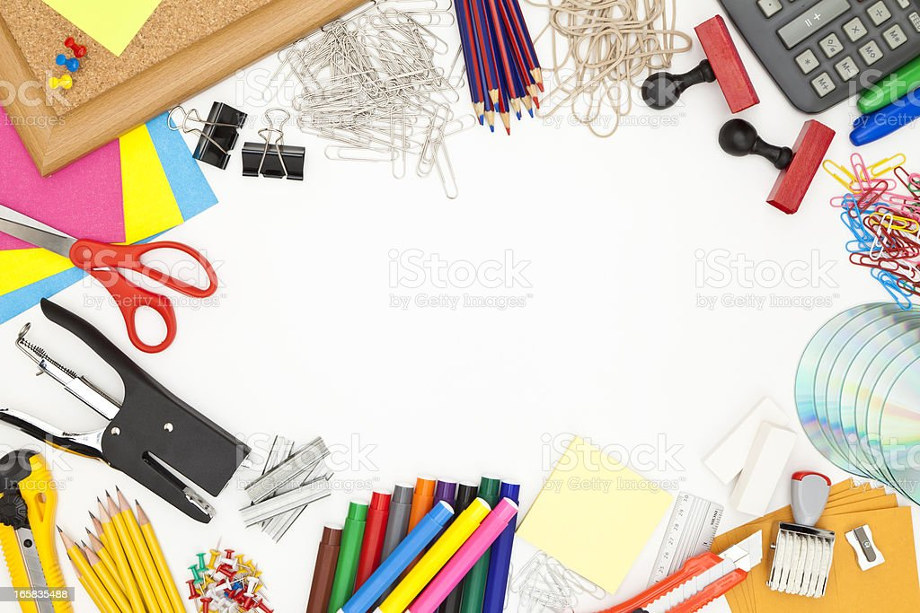 Office supply border shot directly above on white background royalty-free stock photo