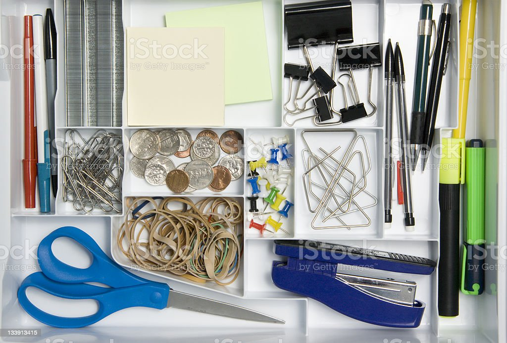 Office Supply Drawer stock photo