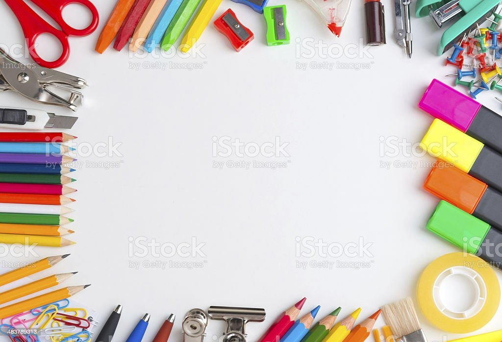 Office Supply Frame stock photo