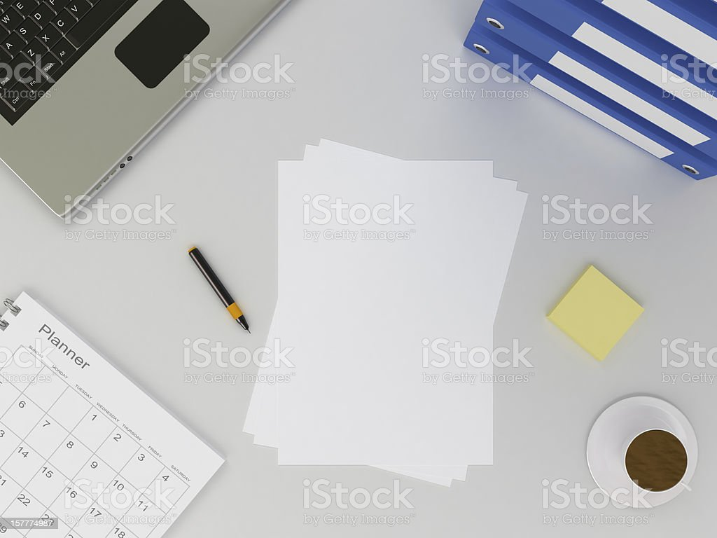 Office Table and Blank Paper stock photo