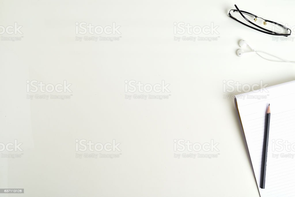 Office table top view shot Blank Text Area Spectacle, Pencil stock photo