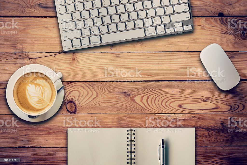 Office table with computer stock photo