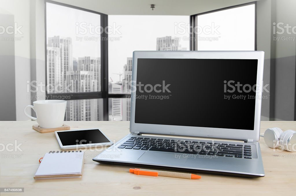 Office table with notepad, computer and equipment office. View f stock photo