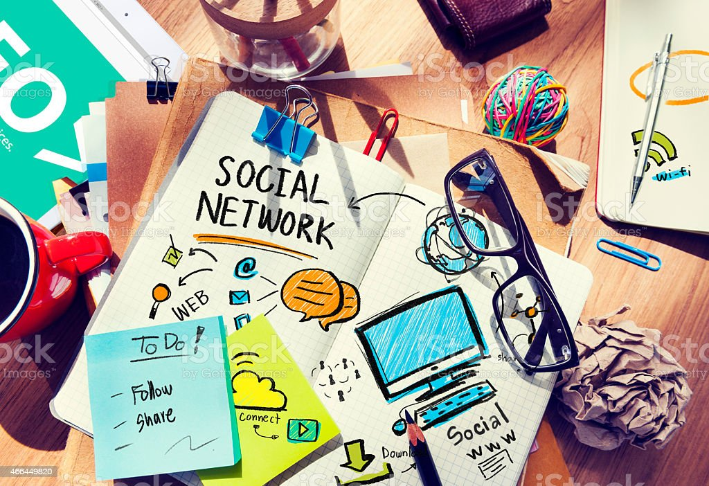 Office Table with Social Media Concept stock photo