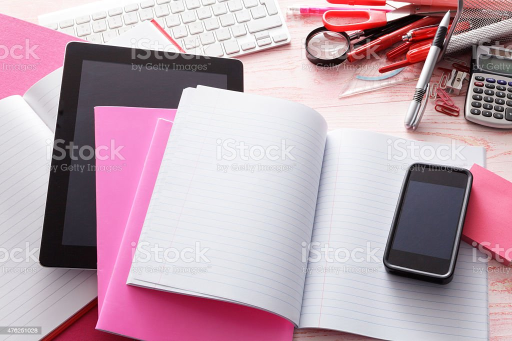 Office: Tablet, Smartphone and Office Supplies stock photo