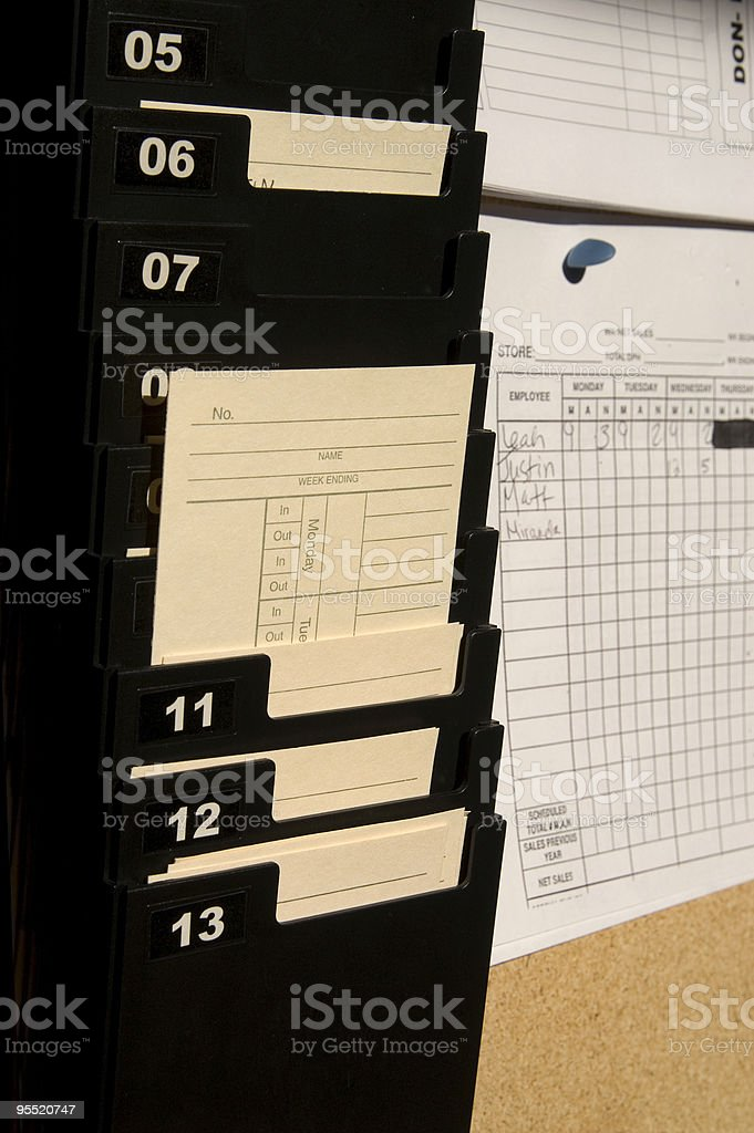 Office Time Card stock photo