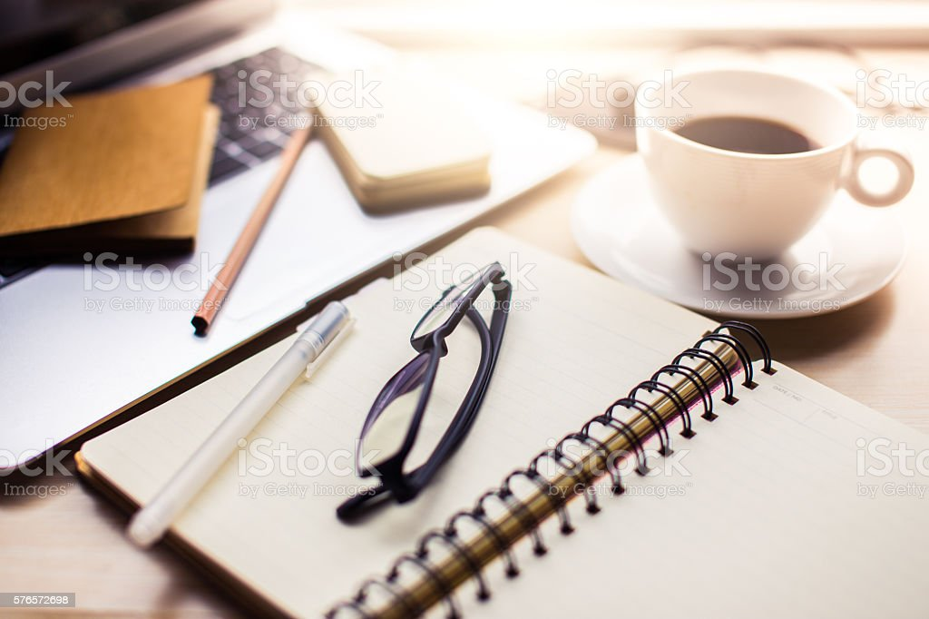 Office tools on desk stock photo
