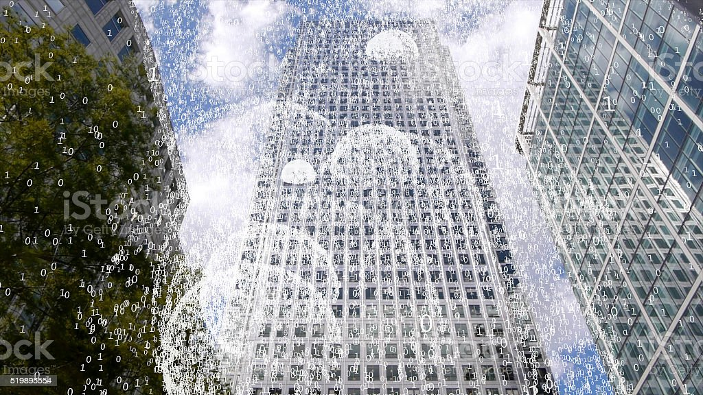 Office tower emitting wi fi creating a blizzard of data. stock photo
