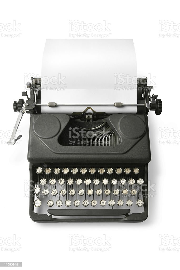 Office: Typewriter Isolated on White Background stock photo