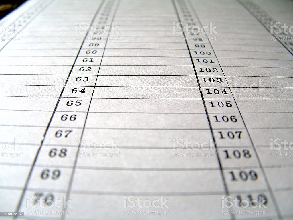 Office Use of Vacant Tabulation stock photo