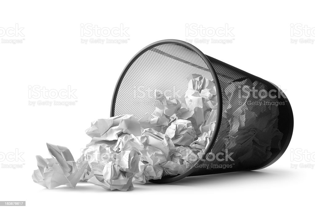 Office: Wastepaper Basket Tumbled royalty-free stock photo
