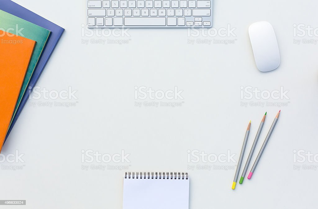 Office White Desk with Business and Every Day Life Items stock photo