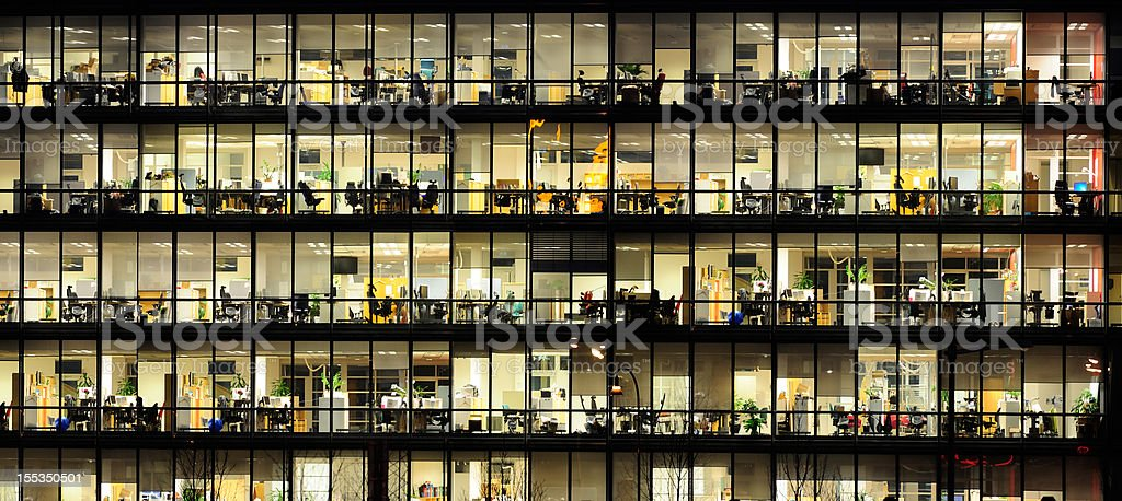 Office Windows By Night. Stock Photo