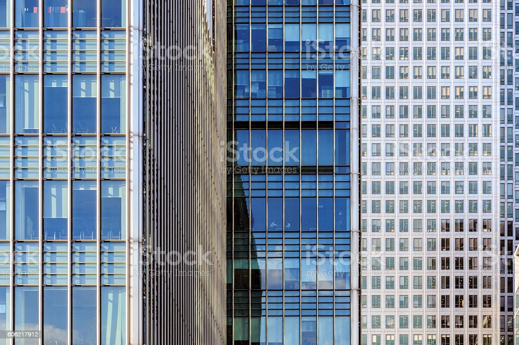 Office Windows in Canary Wharf stock photo