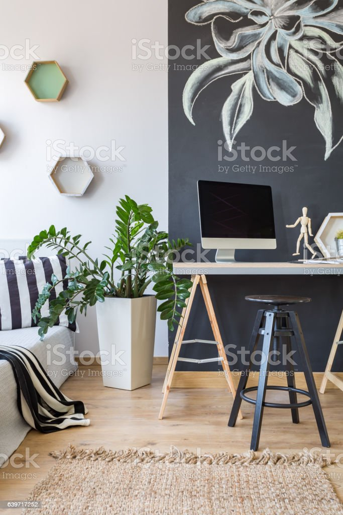 Office with bedroom stock photo