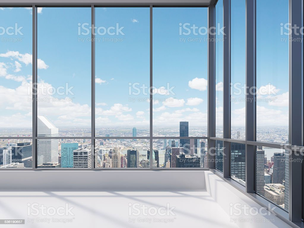 office with big window stock photo
