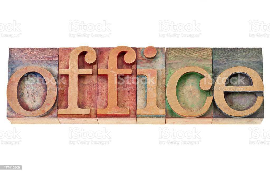 office word in wood type stock photo