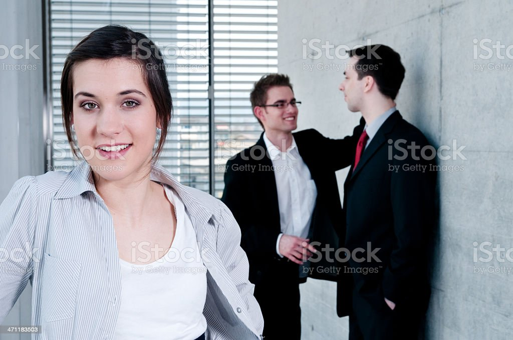 office worker and colleagues in the background royalty-free stock photo