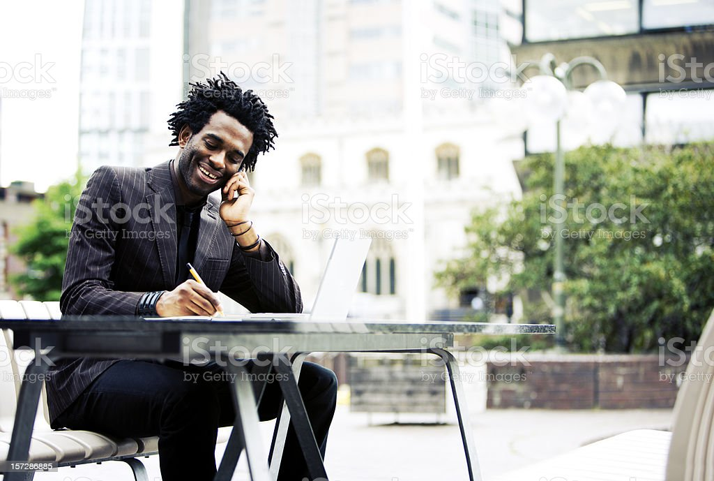 Office worker away from the office in an urban environment royalty-free stock photo