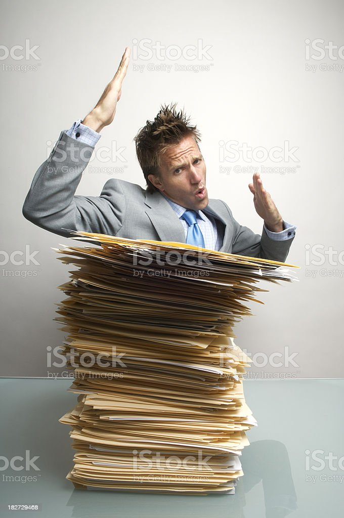 Office Worker Businessman Doing Karate Chop Attack on Inbox royalty-free stock photo