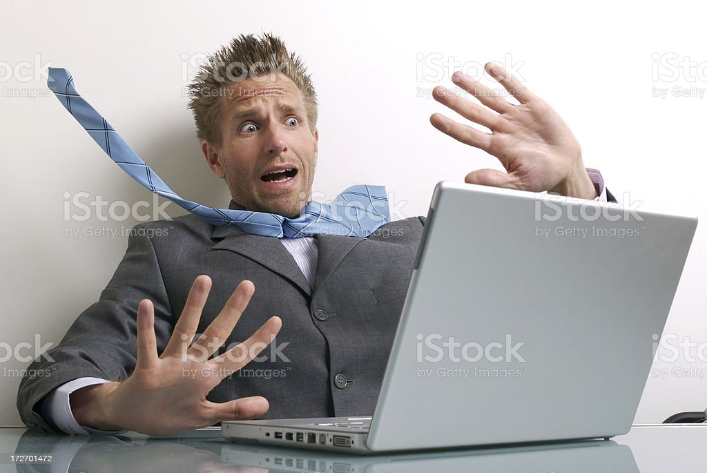 Office Worker Businessman Stressing Out at Laptop Computer royalty-free stock photo