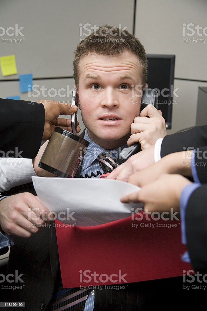 Office Worker Busy With Tasks. royalty-free stock photo