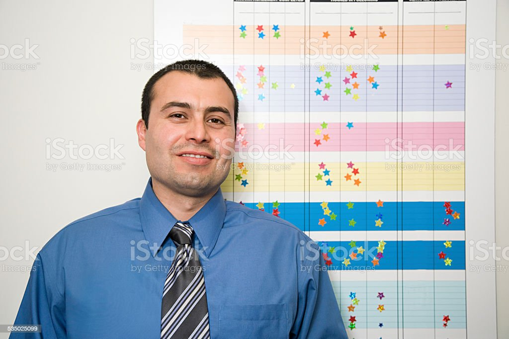 Office worker by chart stock photo