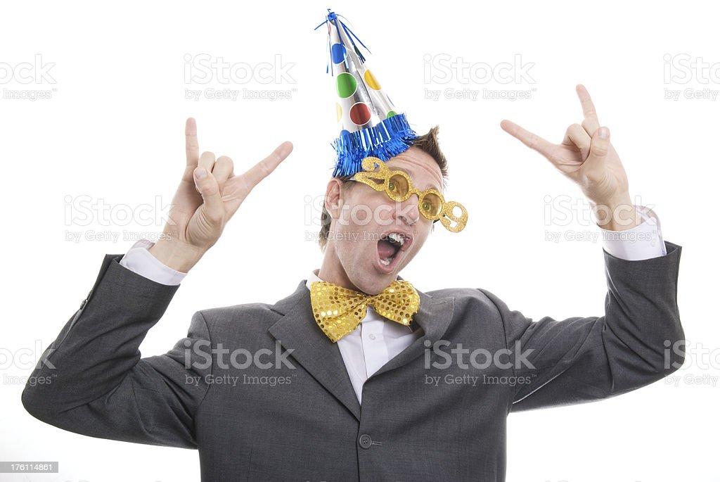 Office Worker Celebrates surviving 2009 stock photo