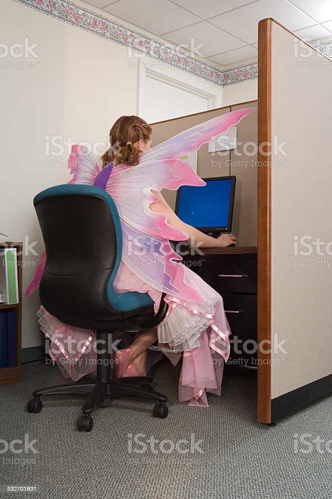 Office worker dressed as a fairy stock photo