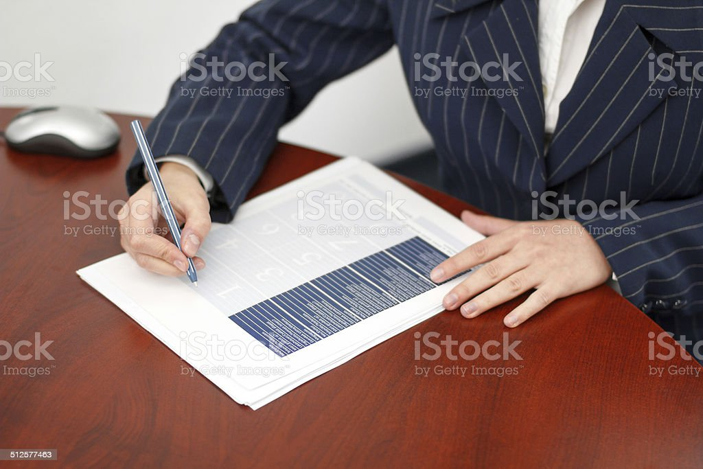 Office worker fill form in office royalty-free stock photo