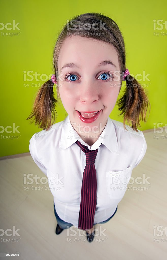 Office worker. Fish-eye lens used. royalty-free stock photo