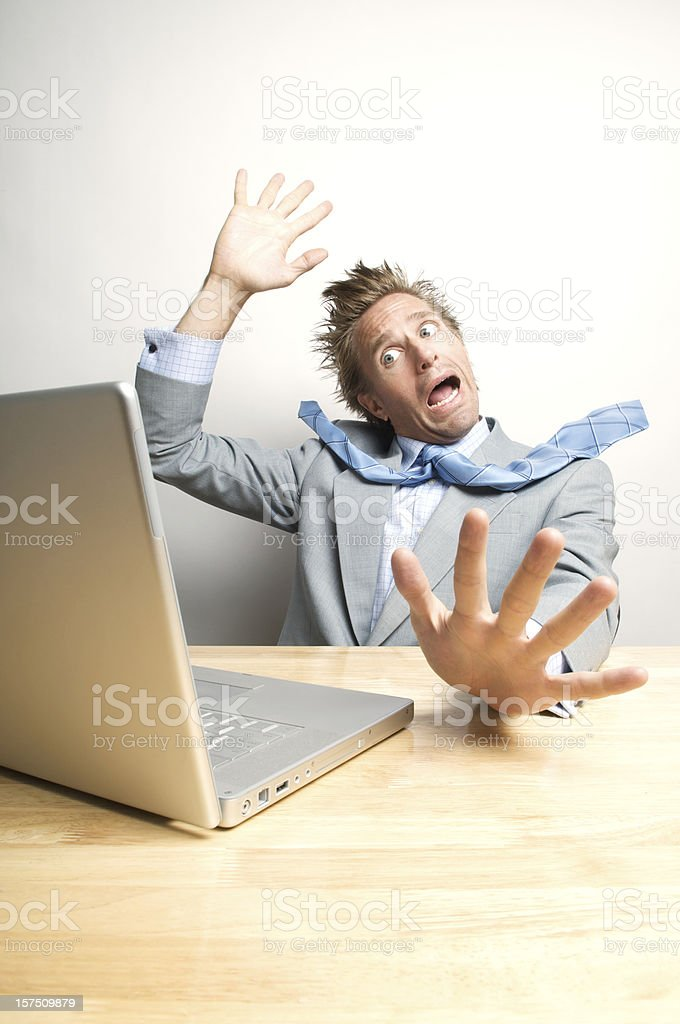 Office Worker Freaks Out at Computer royalty-free stock photo