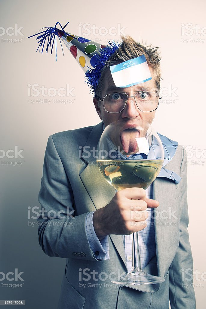 Office Worker Looks Surprised w a Big Glass of Wine royalty-free stock photo